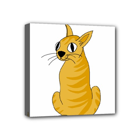 Yellow cat Mini Canvas 4  x 4