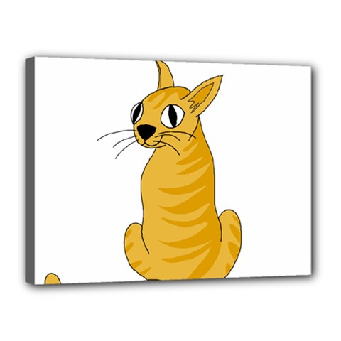 Yellow cat Canvas 16  x 12
