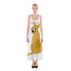 Yellow cat Sleeveless Maxi Dress