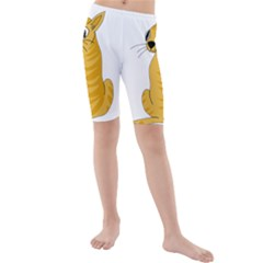 Yellow cat Kids  Mid Length Swim Shorts