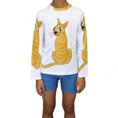 Yellow cat Kids  Long Sleeve Swimwear