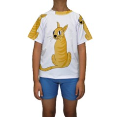 Yellow cat Kids  Short Sleeve Swimwear