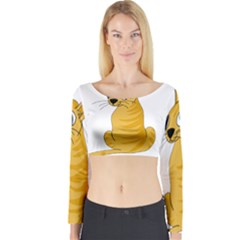 Yellow cat Long Sleeve Crop Top
