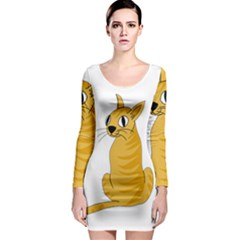 Yellow cat Long Sleeve Bodycon Dress
