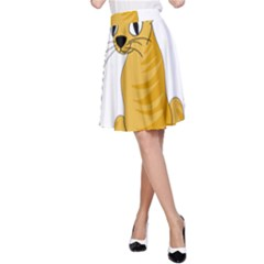 Yellow cat A-Line Skirt
