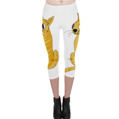 Yellow cat Capri Leggings