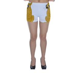 Yellow cat Skinny Shorts