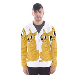 Yellow cat Hooded Wind Breaker (Men)