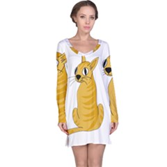 Yellow cat Long Sleeve Nightdress