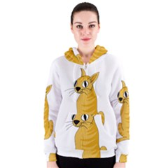 Yellow cat Women s Zipper Hoodie