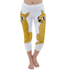 Yellow cat Capri Winter Leggings