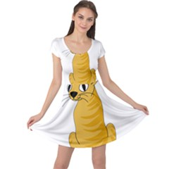 Yellow cat Cap Sleeve Dresses