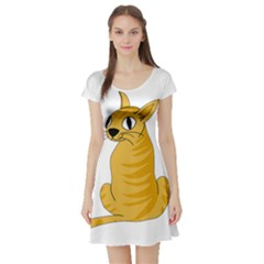 Yellow cat Short Sleeve Skater Dress