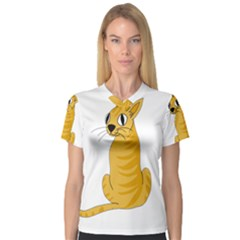 Yellow cat Women s V-Neck Sport Mesh Tee