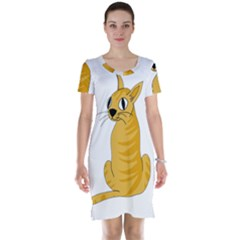 Yellow cat Short Sleeve Nightdress