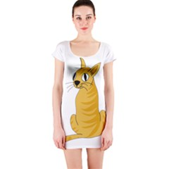 Yellow cat Short Sleeve Bodycon Dress