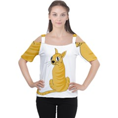 Yellow cat Women s Cutout Shoulder Tee