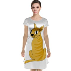 Yellow cat Cap Sleeve Nightdress