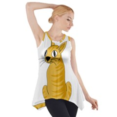 Yellow cat Side Drop Tank Tunic