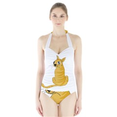 Yellow cat Halter Swimsuit