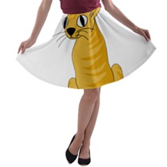 Yellow cat A-line Skater Skirt