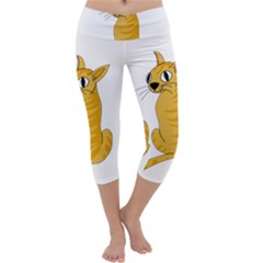 Yellow cat Capri Yoga Leggings