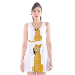 Yellow cat Scoop Neck Skater Dress