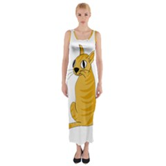 Yellow cat Fitted Maxi Dress