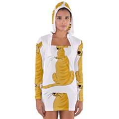 Yellow cat Women s Long Sleeve Hooded T-shirt