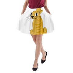 Yellow cat A-Line Pocket Skirt