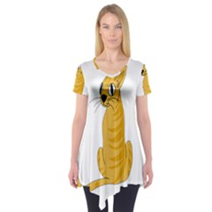 Yellow cat Short Sleeve Tunic
