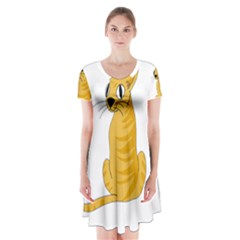 Yellow cat Short Sleeve V-neck Flare Dress