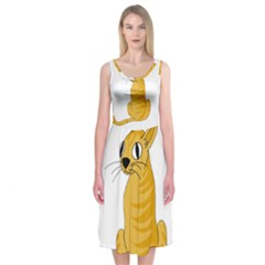 Yellow cat Midi Sleeveless Dress