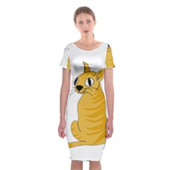 Yellow cat Classic Short Sleeve Midi Dress
