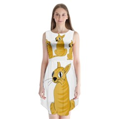 Yellow cat Sleeveless Chiffon Dress
