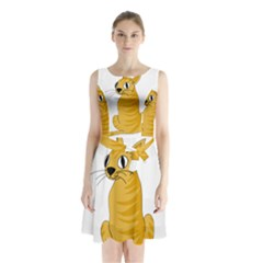 Yellow cat Sleeveless Chiffon Waist Tie Dress