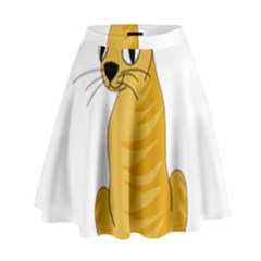 Yellow cat High Waist Skirt