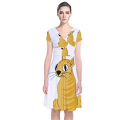 Yellow cat Short Sleeve Front Wrap Dress