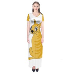 Yellow cat Short Sleeve Maxi Dress