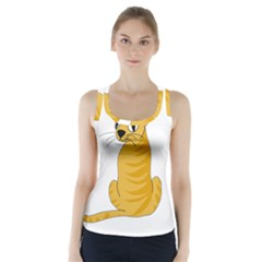 Yellow cat Racer Back Sports Top