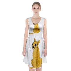 Yellow cat Racerback Midi Dress