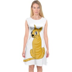 Yellow cat Capsleeve Midi Dress