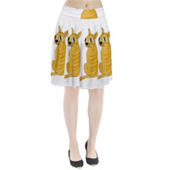Yellow cat Pleated Skirt