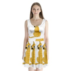 Yellow cat Split Back Mini Dress