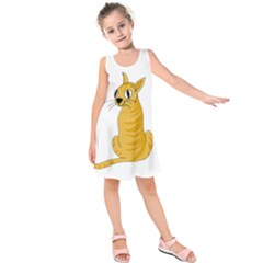Yellow cat Kids  Sleeveless Dress