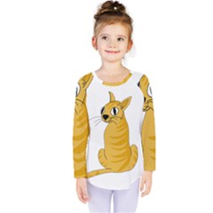 Yellow cat Kids  Long Sleeve Tee