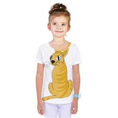 Yellow cat Kids  One Piece Tee