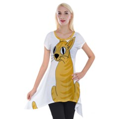 Yellow cat Short Sleeve Side Drop Tunic