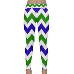 Blue And Green Chevron Classic Yoga Leggings by AnjaniArt