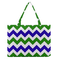 Blue And Green Chevron Medium Zipper Tote Bag by AnjaniArt